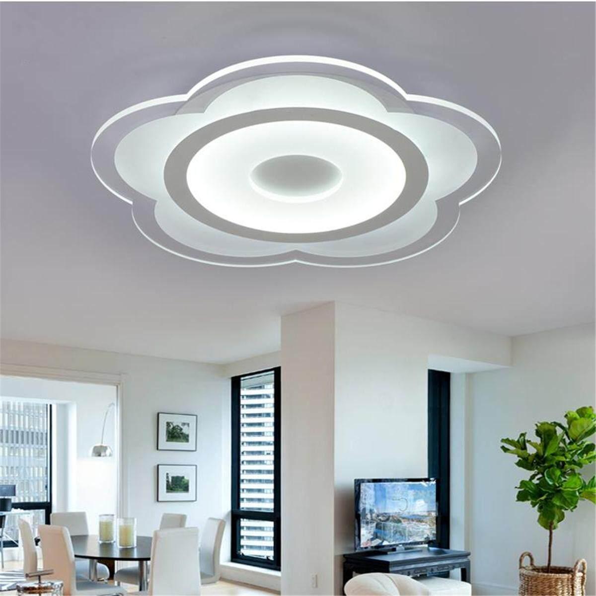 Modern Simple Square Acrylic LED Ceiling Light Living Room Bedroom Home Lamp#Full White Light - intl