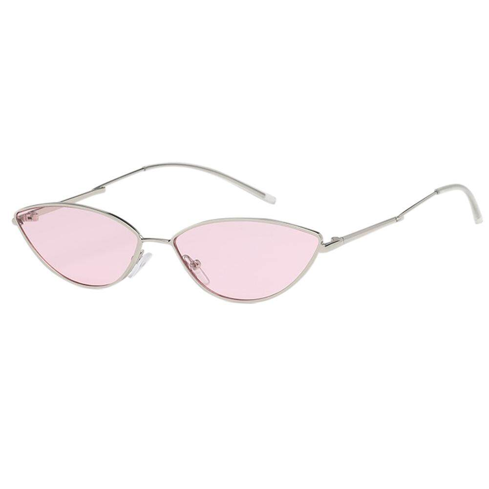 Qimiao Mode untuk Wanita Bingkai Kecil Mata Kucing Kacamata Hitam UV400 Kacamata Olah Raga Outdoor Lensa
