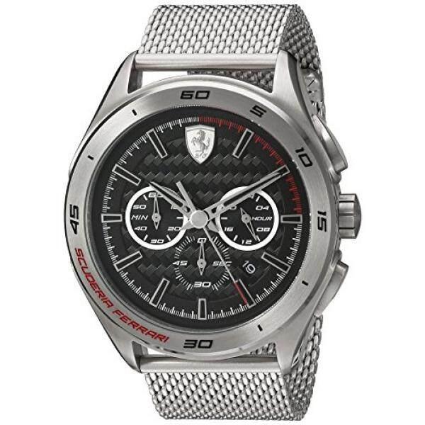 Ferrari Mens 830347 Kuarsa Analog Chonograph Perak Baja Anti Karat Watch
