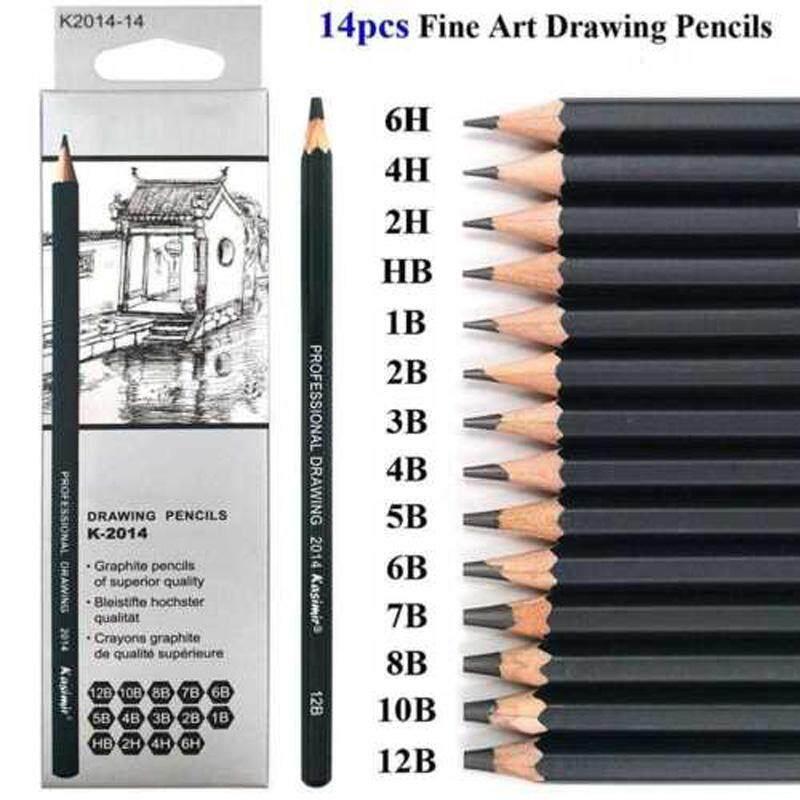 14 Pcs Pensil Sketsa Gambar 6H-12B Alat Seni Tidak Beracun Kit untuk Seniman Siswa