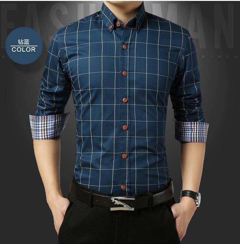 Free Shipping New Autumn Fashion Men Clothes Slim Fit Men Long Sleeve  Shirt Men 1e97e5b7b6ce