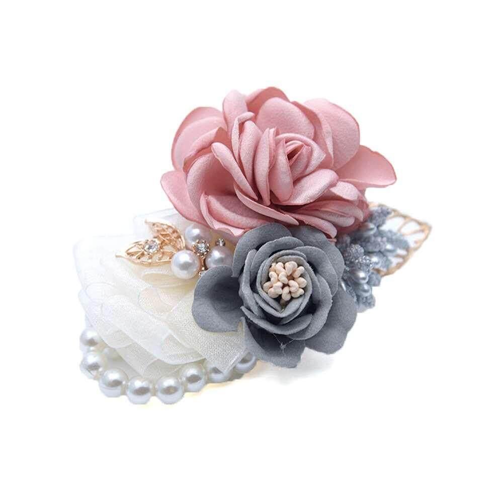 LJAN Bridal Hand Flower Wedding Decoration Mariage Rose Wrist Corsages Silk PE Foam Artificial Brides Bridesmaid