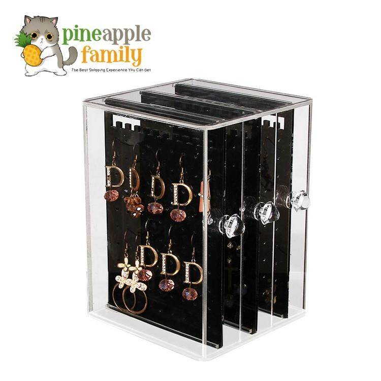 Acrylic Jewelry Storage Box Earring Display Hanging Stand Organizer Holder Rack With 3 Vertical Drawer
