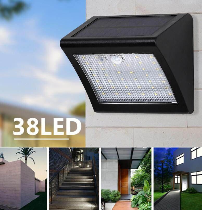 HiQueen LED Solar Light Powered LED Solar Lamp Panel 38LED Motion Sensor IP65 Human Body Induction Outdoor Lighting