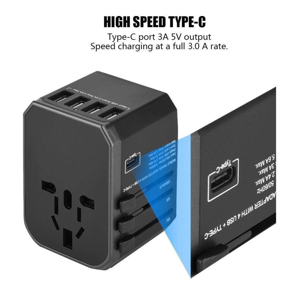 Portable Universal 4 USB Ports Type-C Sockets Converter Travel Adapter Plug for US/AU/UK/EU