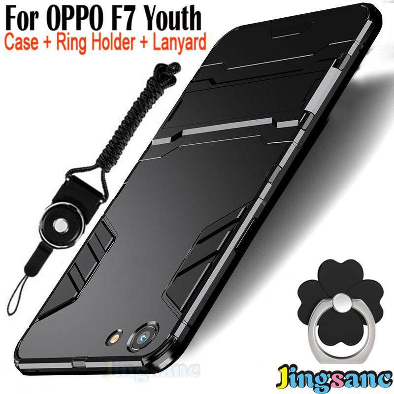For OPPO F7 Youth [Phone Case+Ring Holder+Lanyard] Hybrid 2 in1 Case Hard Plastic + Soft Silicone TPU Rugged Cover Casing Matte PC Hardcase phonecover for oppo f7youth