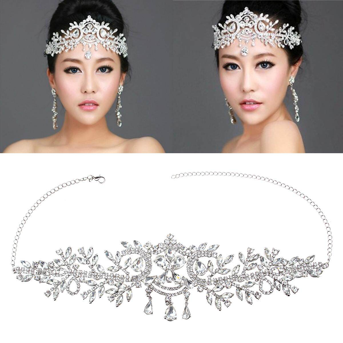 Bride Diamond Silver Crystal Crown Wedding Bridal Tiara Rhinestone Pageant Prom Veil Headband By Glimmer.
