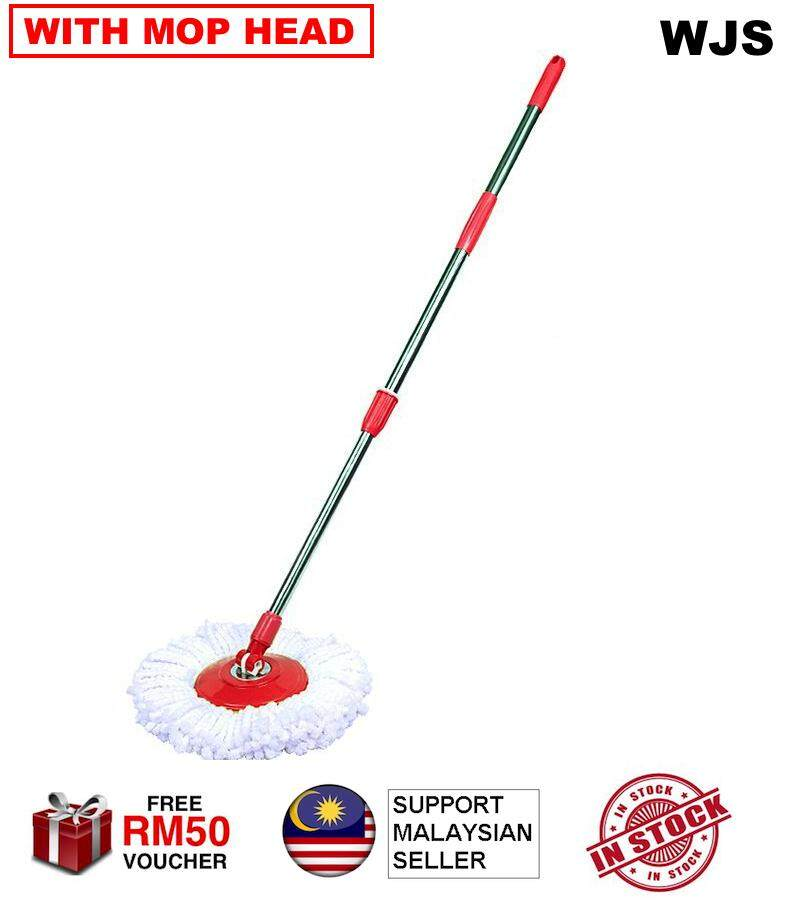 (WITH MOP CLOTH) Stainless Steel EASY MOP Spin Thicker Mop Handle with MicroFibre Mop Cloth Red