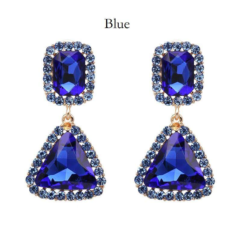 Geometric Drop Earrings Rhinestone Decorated Gold Plated Fashion Earrings for Girls and Women
