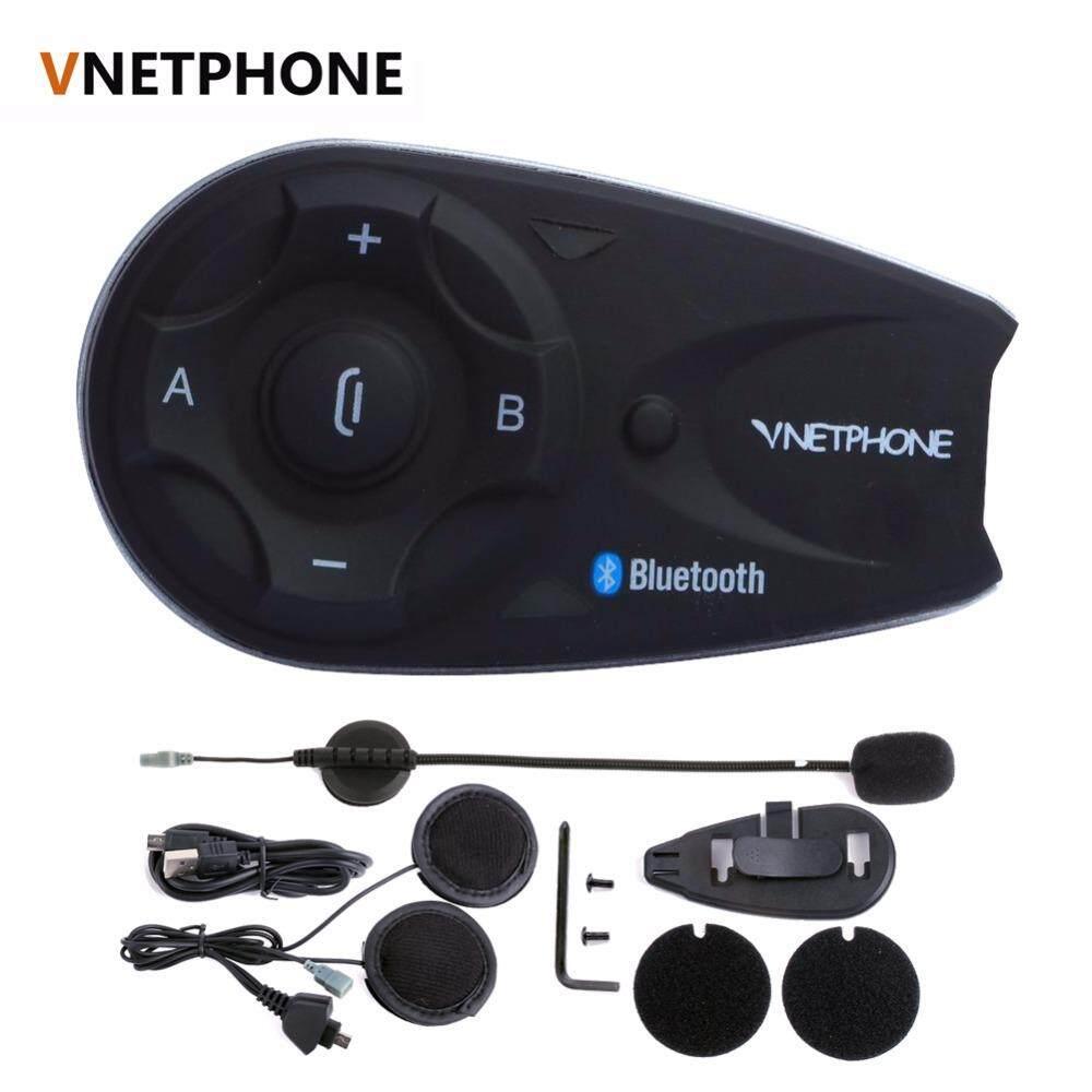 Vnetphone V5 1200M Bluetooth Motorcycle Helmet Interphone Full-duplex Intercom Headset Kit for 5 Riders