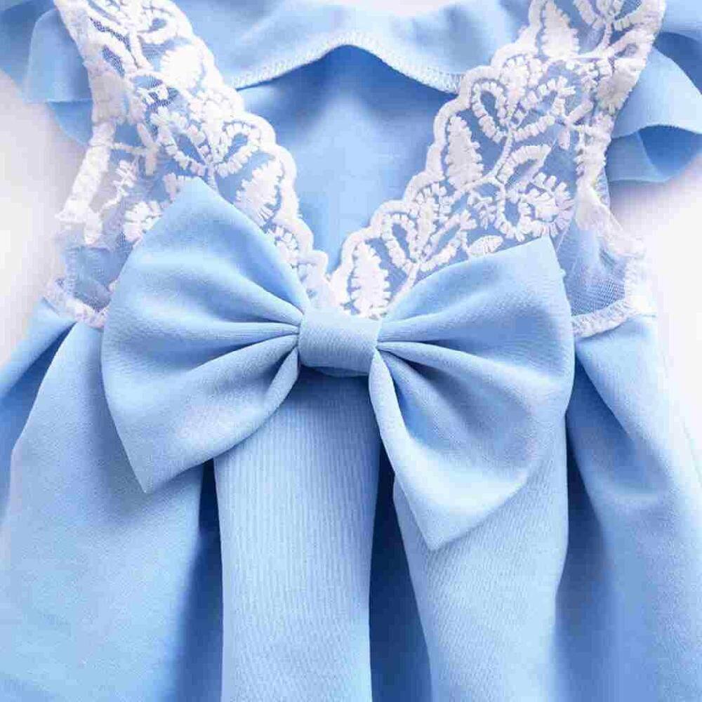 Canglex Ulang Tahun Bayi Perempuan Gaun Tangan Pendek Busur Gaun Renda Pakaian Musim Panas (Biru