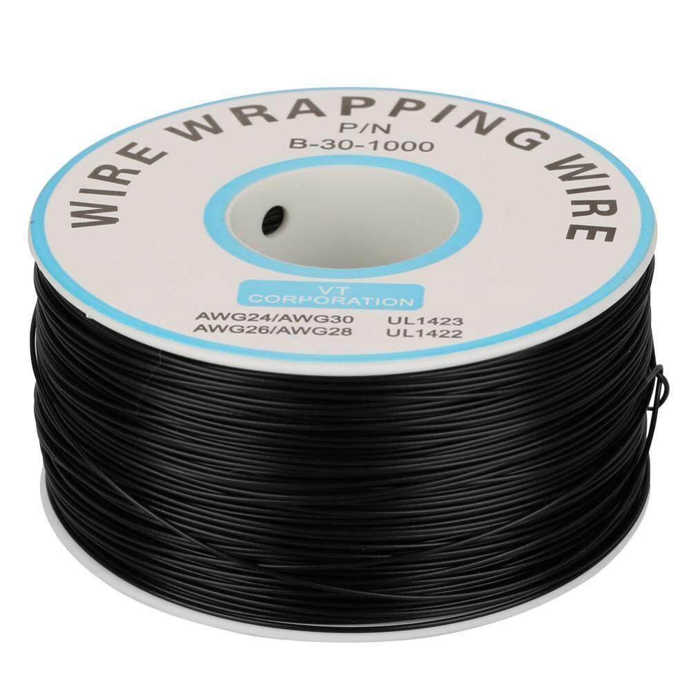 1 Kabel Gulungan Pembungkus Tunggal Tembaga Kawat Untai 30AWG Kabel 0.25 Mm Diameter Inti (Hitam)-Intl