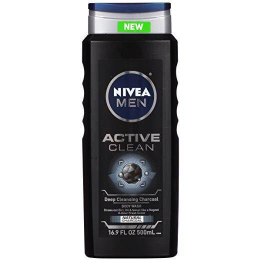 NIVEA Men Active Clean Body Wash , Natural Charcoal, 16.9 Fluid Ounce