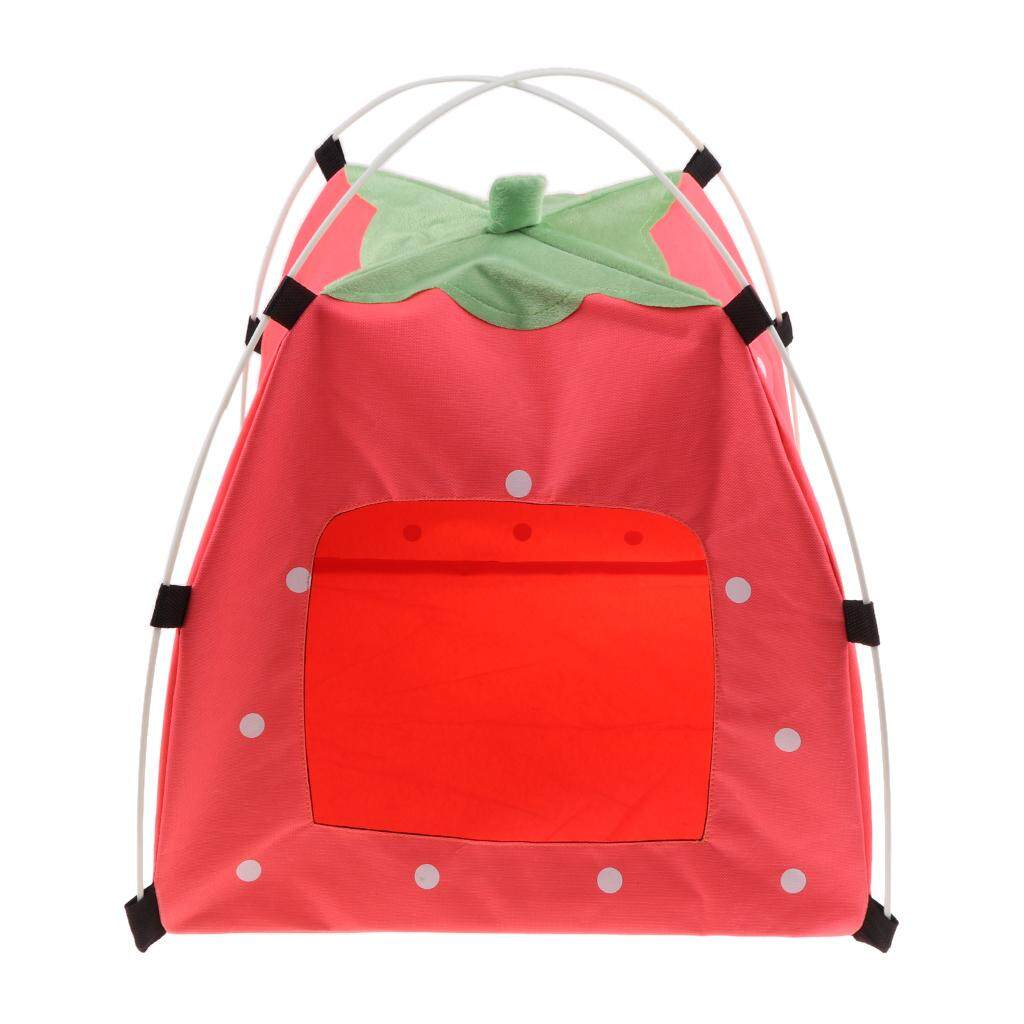 Bolehdeals Strawberry Doghouse Cute Puppy Cat Cave Pet House For Small Animals Pink By Bolehdeals