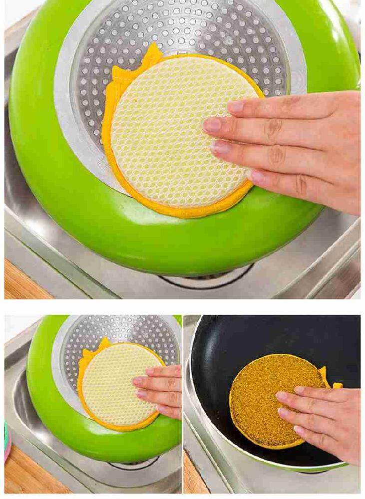 Fuan 2pcs / lot Round Steel Double-sided Washing Sponge Dish Towel Clean Ball Washing