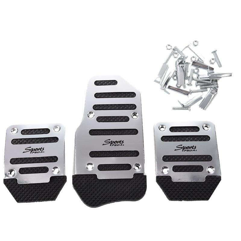 3 Pcs Black Silver Tone Metal Plastic Nonslip Pedal Cover Set For Car - Intl By Sunnny2015.