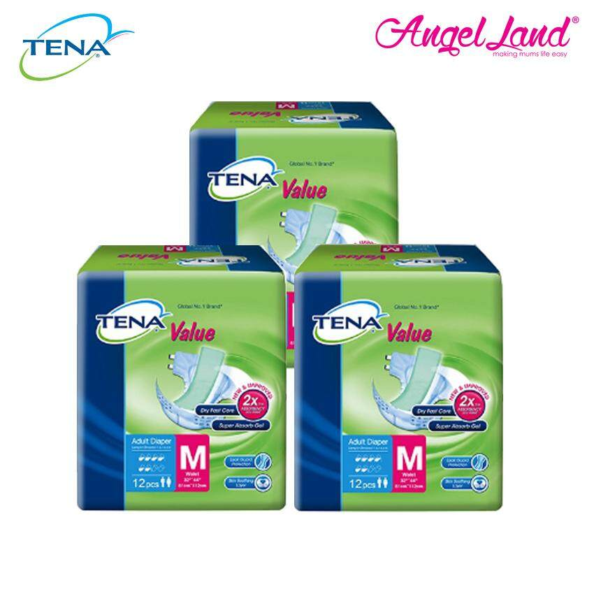 Tena Value Adult Tape Diaper M12 (3 Packs)