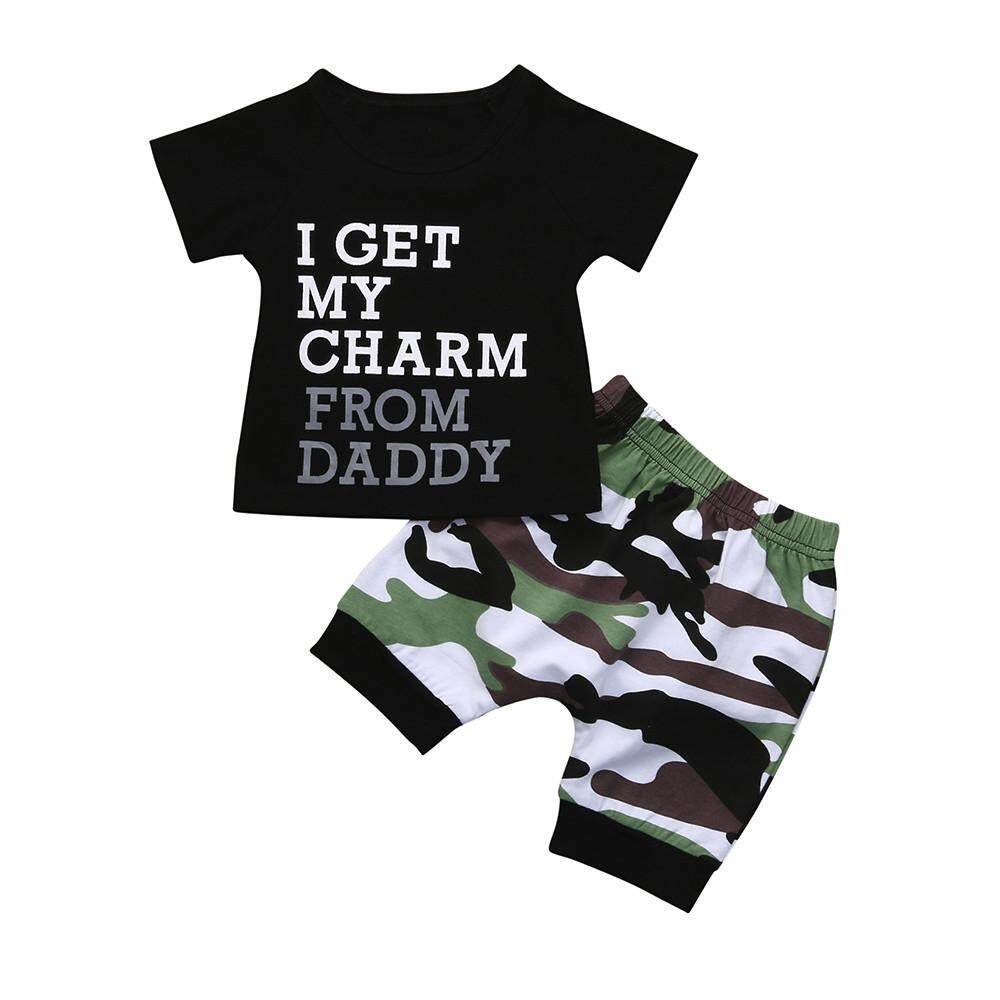 31248b7b0bcf Lawsonshop Toddler Kids Baby Boy Letter T shirt Tops+Camouflage Shorts  Outfits Clothes Set
