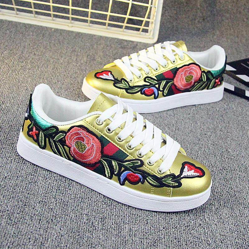 Features ulzzang embroidered flowers couples white shoes gold dan ulzzang embroidered flowers couples white shoes mightylinksfo