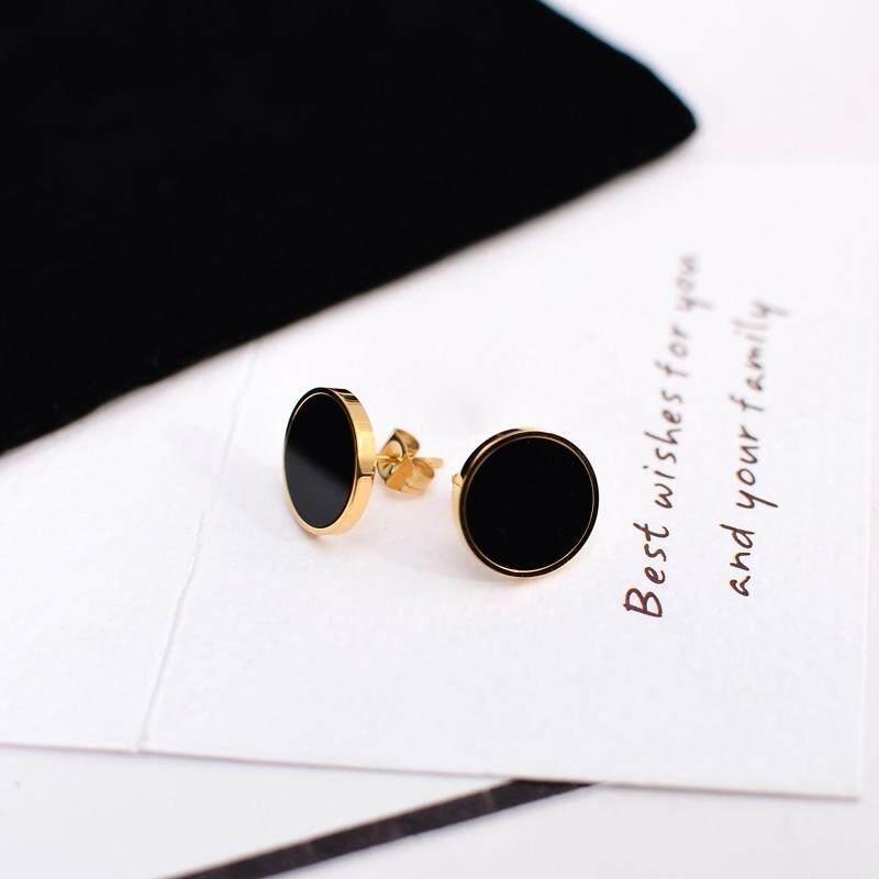 【Anting-anting berwarna emas】Eropa dan Amerika Serikat temperamen kerah bulat kalung model