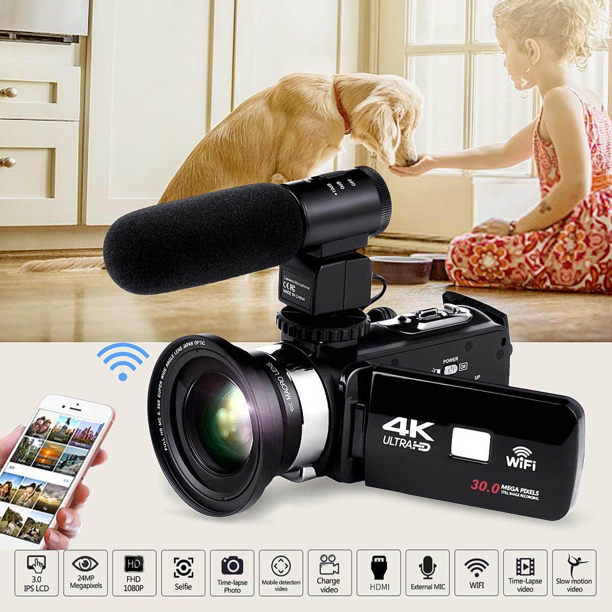 Full Hd Wifi 1080p 4k 16x Zoom Digital Video Camera Dv Camcorder & Lens& Microphone By Audew.