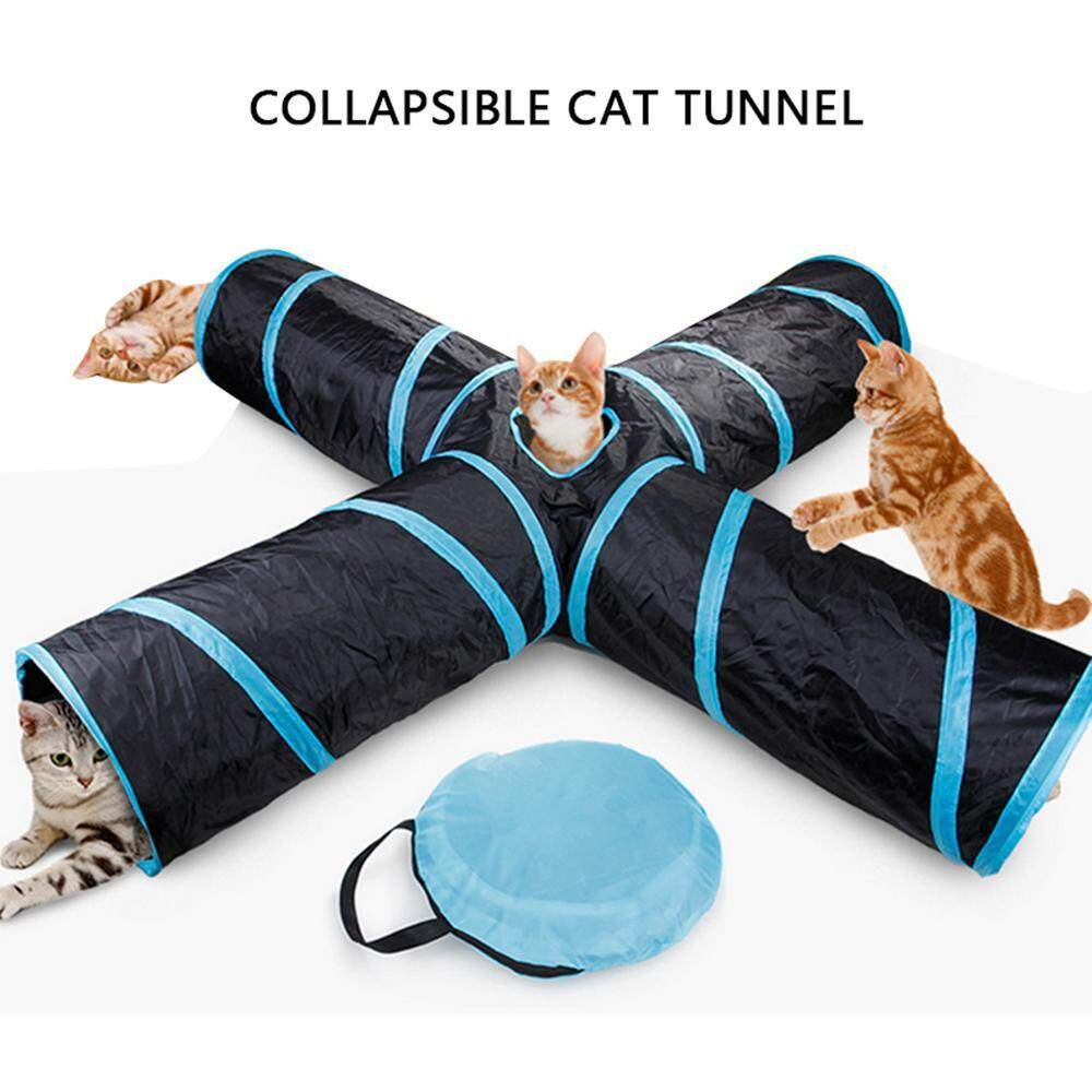 Leegoal 4 Way Cat Tunnel, Collapsible Pet Play Tunnel Tube Toy With A Bell Toy A Soft Ball Toy For Cat, Puppy, Kitty, Kitten, Rabbit - Intl By Leegoal.