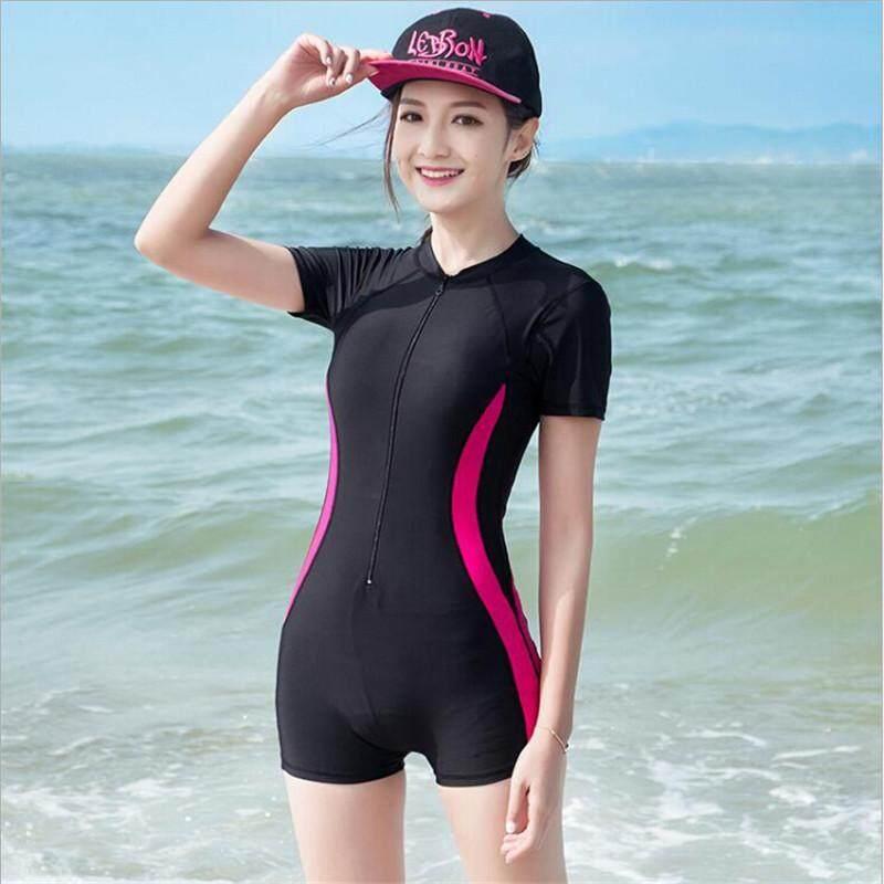 c239eeafa65 Luoke grey Sexy Women Swimwear One Piece Suits Beach Wear Push Up Swimsuit  Zipper New Short