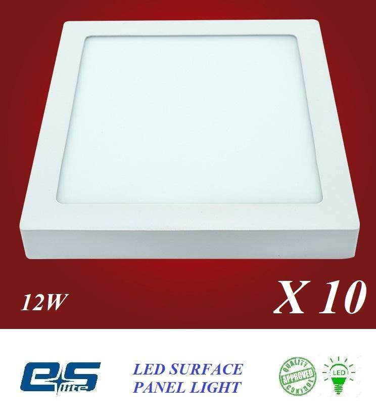 10 PCS ES LITE LED SURFACE PANEL LIGHT SQUARE 12W WARM WHITE