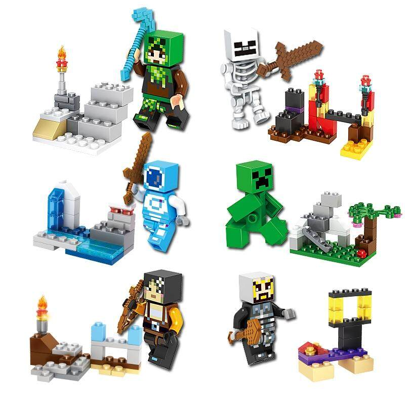 Smartable Building Blocks Of Minecrafted 4in1 Steve Zombie Skeleton Figures Toys 79255 Compatible Legoing Minecrafted 100% Original Model Building