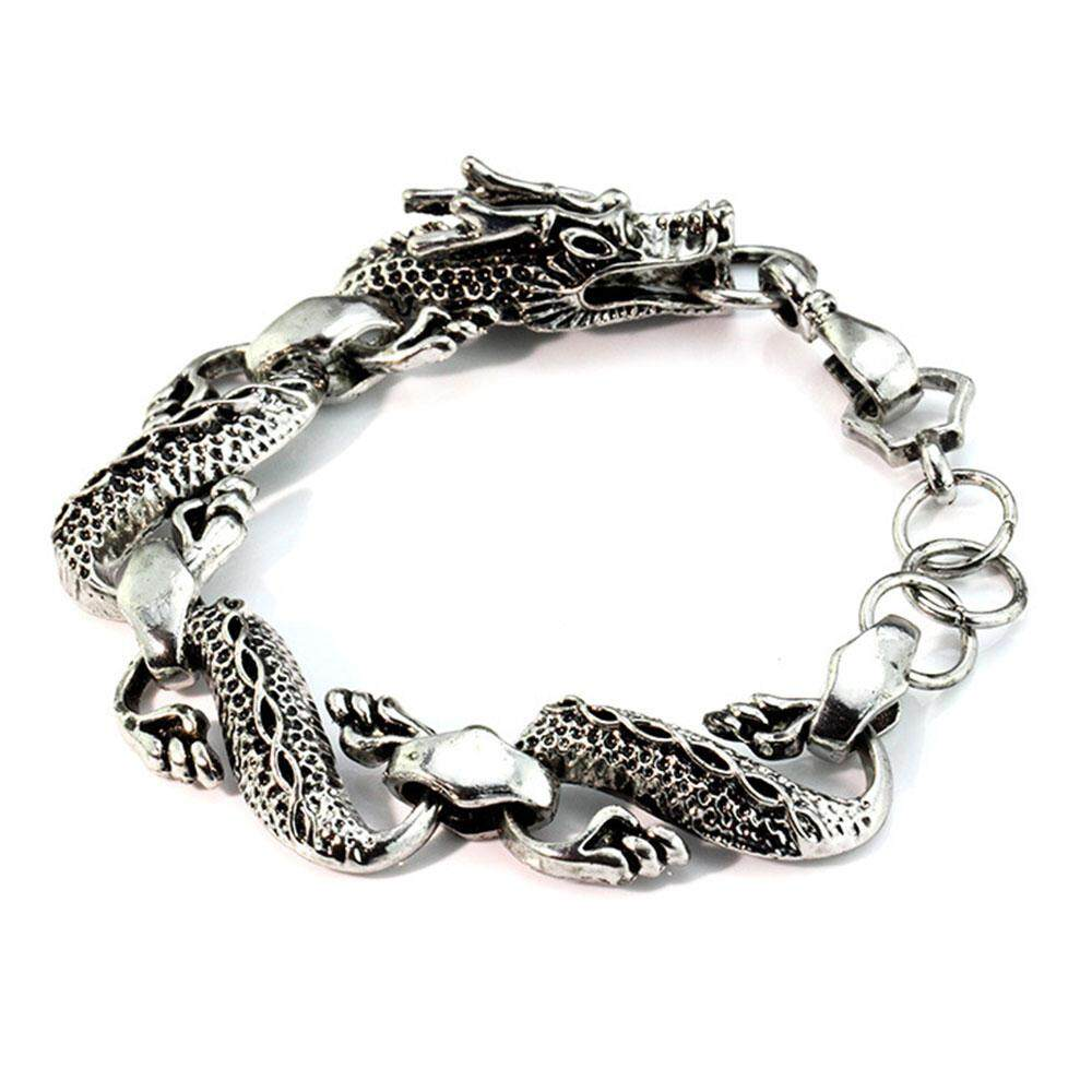 Mens Titanium Steel Dragon Silver Vintage Punk Cool Bracelets Bangles Jewelry By Mayler Store.