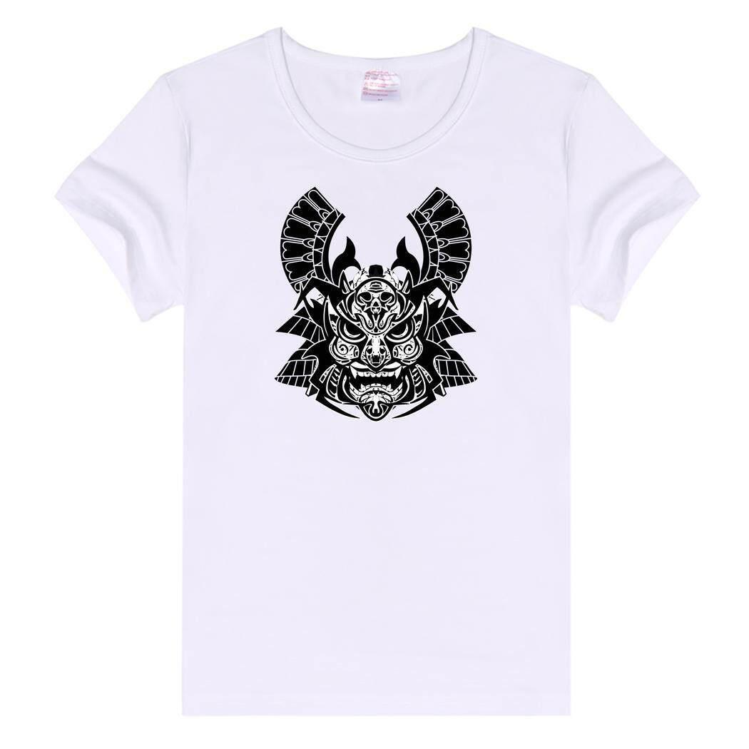 Sunwonder Longgar Kasual Basic Polos CREW NECK Ramping Fit Lembut Lengan Pendek T-shirt Jepang Helm Samurai 2 (Putih)-Intl