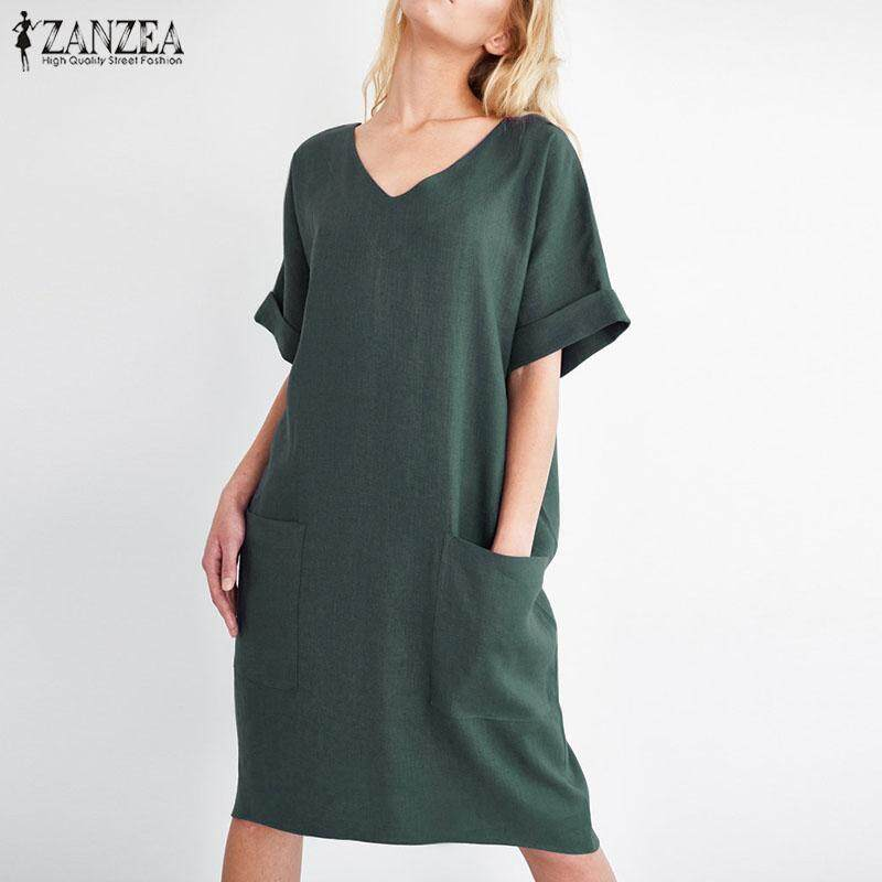 22ab822eb042 S-5XL ZANZEA Women V Neck Short Sleeve Casual Summer Tunic Long Shirt Dress  Plus