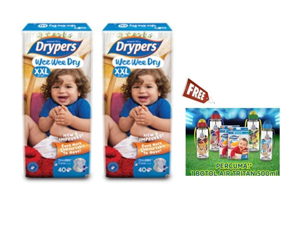 Drypers WWD Mega Size XXL40 x 2 packs [FOC 500ml Water Tumble x1]