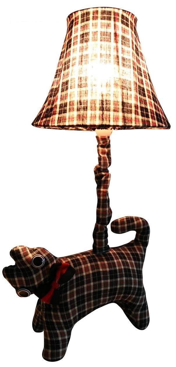 Alpha Living LGT0016 Stuffed Animal Cat Bedside Table Lamp (Dark Checker Version, E27 Light Bulb Compatible)