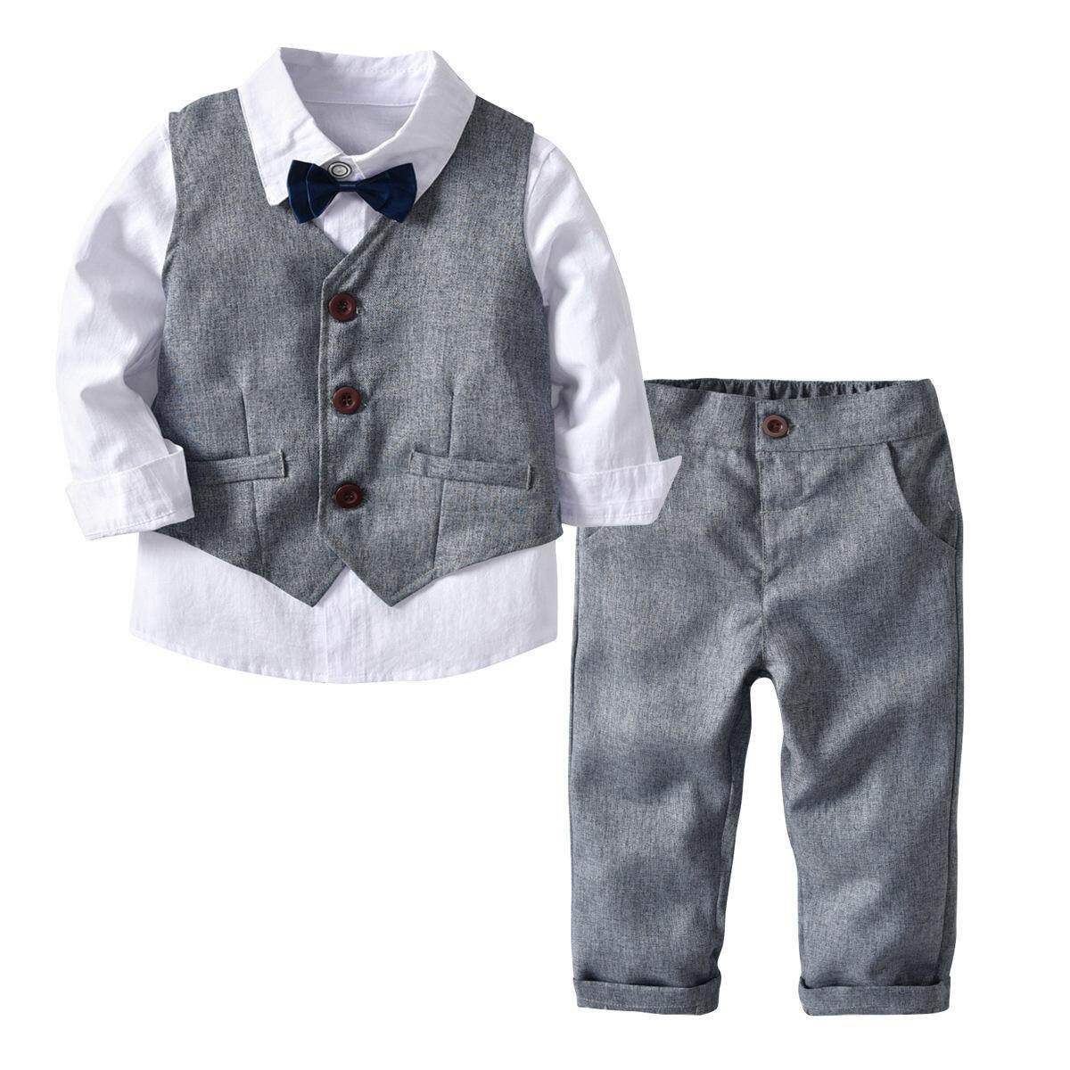 7d791ef1b6602 1 Set 3 PCS Autunm Spring Cotton Kids Boys Gentleman Outfit Suit Set  Handsome Bow