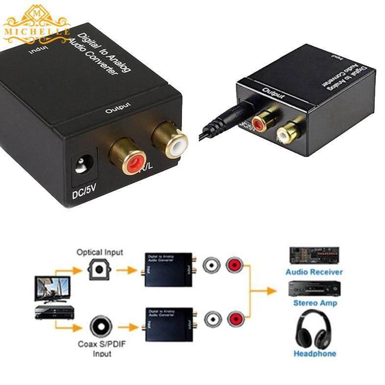 Koaks Digital untuk * Analog Kabel Suara Konverter Adaptor RCA L/R Aksesoris