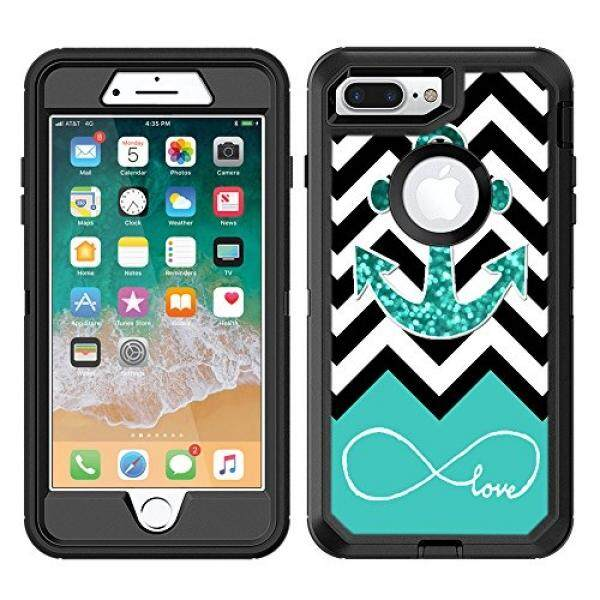 Protective Designer Vinyl Skin Decals/Stickers for OtterBox Defender iPhone 8 Plus / iPhone 7 Plus Case - Infinite Love Teal Glitter Anchor Design Patterns - Only SKINS and NOT Case - by [TeleSkins] - intl