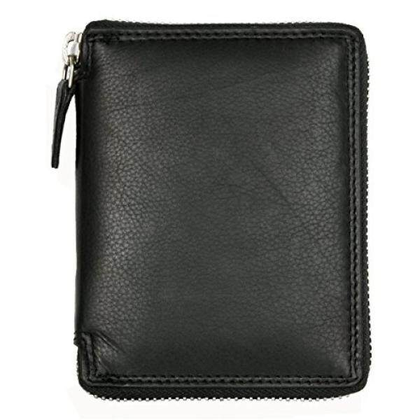 Mens Metal Zipper (Zip-around) Black Leather Wallet Kabana - intl