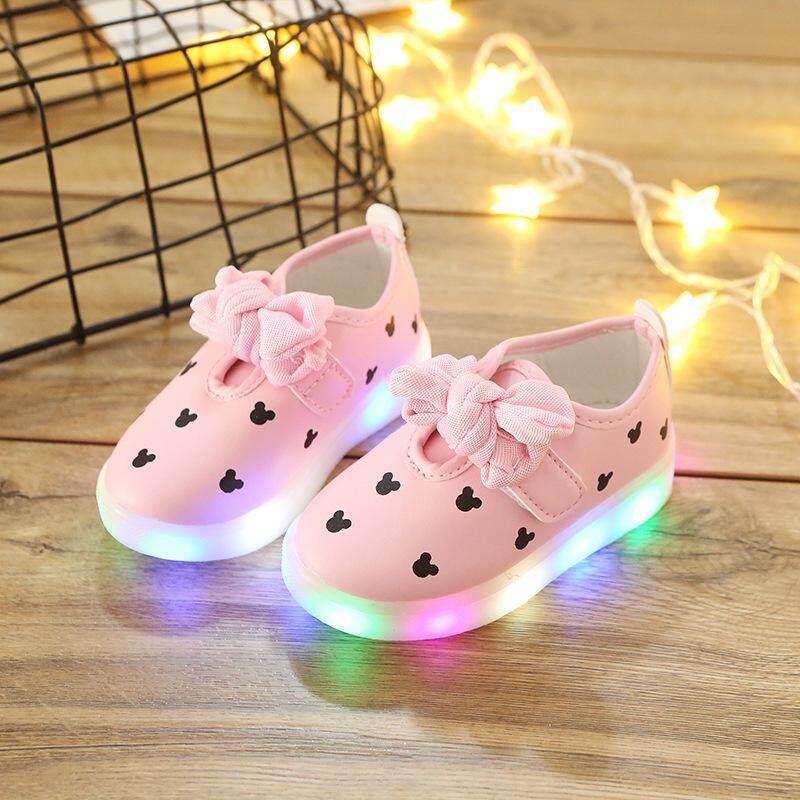 YL304 2018 Musim Gugur Baru Anak-anak Sepatu Lampu Perempuan Busur LED Ringan Sepatu Bernapas Ringan Bayi Perempuan Sepatu EU21-EU30- internasional