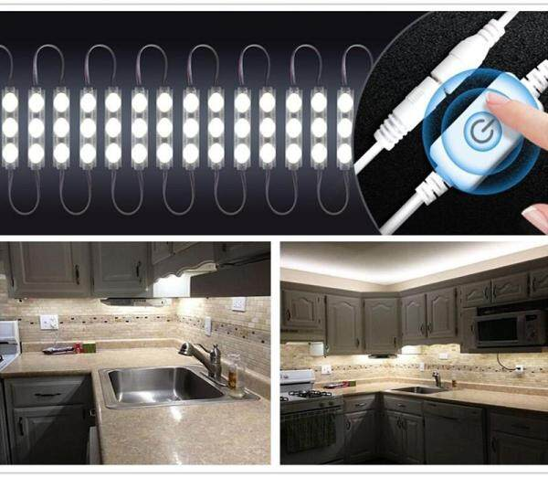 Big House 10ft 12V 20W 2400LM 60 SMD5730 LED Mirror Lights With Touch Switch Brightness Dimmer For Cabinet Closet Kitchen Counter Decoration
