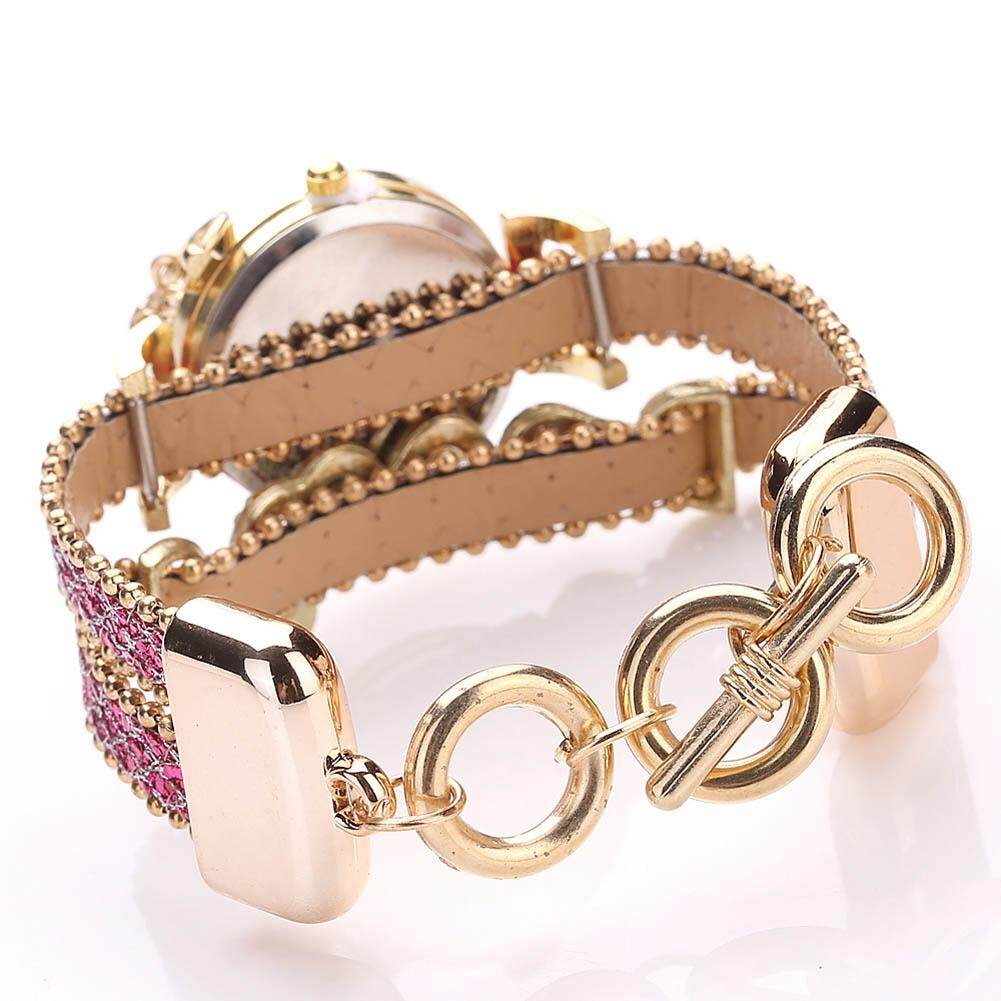 ... De Fashion Wanita Multi Layer Gelang Arloji QUARTZ Alloy Kristal Cinta Huruf Band Jam Tangan- ...