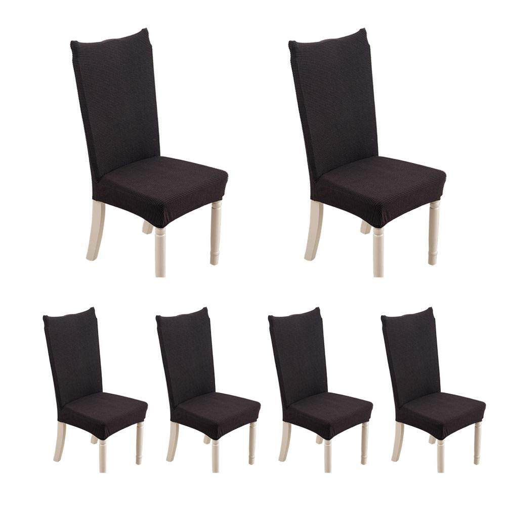 Fortunet 6pcs Thickened Fleece Knit Stretch Chair Cover Removable Washable Short Dining Chair Protector