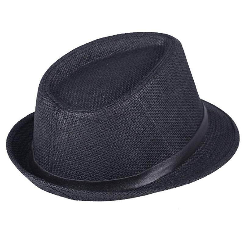 Unisex Kasual Jerami Panama Matahari Fedora Topi dengan Band-Intl