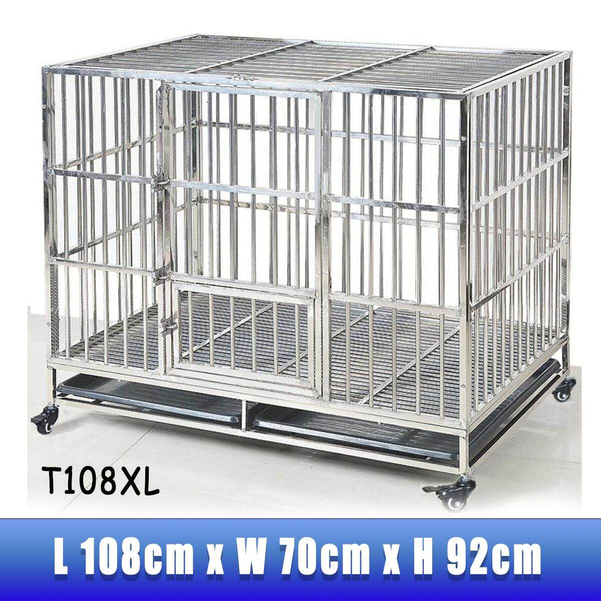 Extra Large T108XL Stainless Steel Dog Cage Dog Crate 108x70x92CM