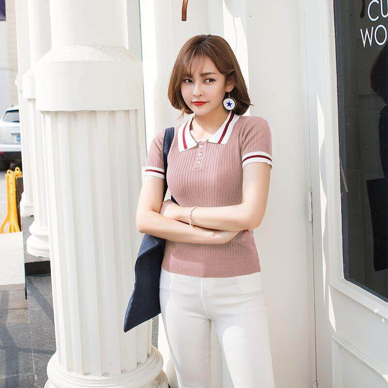 Heart Dream New Ice Silk Sweater Sweater Polo Lapel Skinny Girl Short Sleeved T shirt - intl