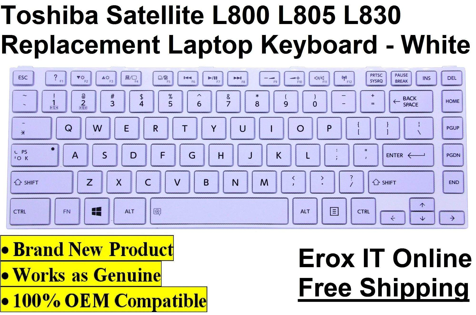 Replacement Keyboard for Toshiba Satellite L840 Series /Toshiba L800K OEM Replacement Laptop Keyboard (White) Malaysia