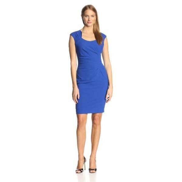 701d0c47ffb9e5 Calvin Klein Womens Sleeveless Scoopneck Side Ruched Dress, Atlantis, 12 -  intl