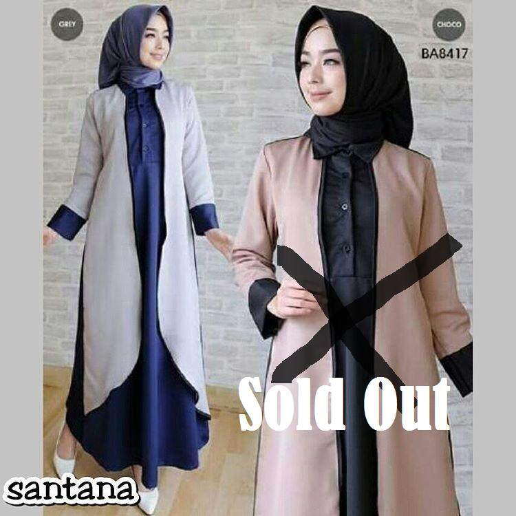 Baju Muslim Original Gamis Santana Dress Baloteli Baju Kurung Pakaian Jubah  Women s Long Shirt Muslimah Kasual 67eb6b4cdc