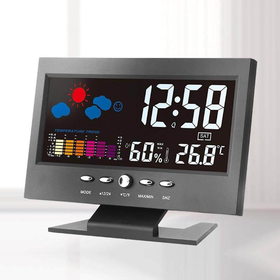 GOFT electro*ic Digital Temperature Humidity Monitor Clock Weather Forecast Clock Black
