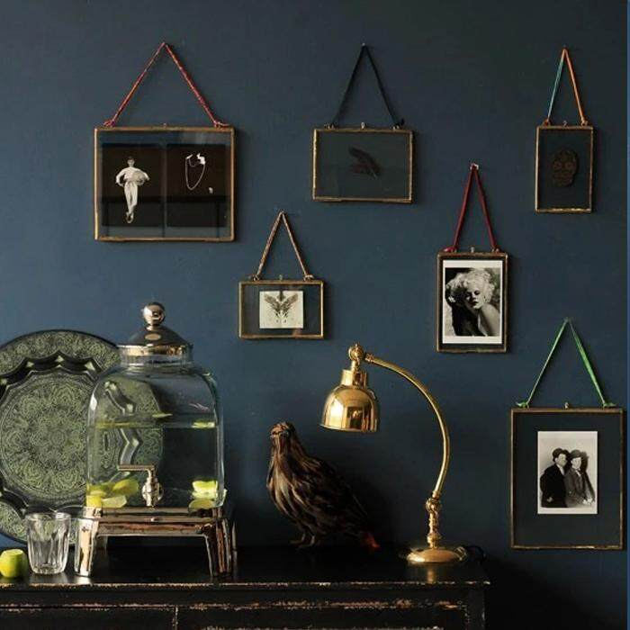 (Now Goods) Wall Brass Glass Photo Frame Black Transparent Wall with Handmade Frame